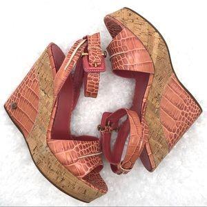 BCBGMaxAzria Wedge Croc/Reptile Ankle Wrap Wedge